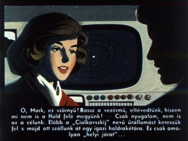 """Oh Mark, this is horrible! The controls have failed, we are lost, we are not flying towards the Moon!"" - ""Keep calm, that is not our destination. First, we will visit the 'Tsiolkovsky' space station, and there we will transfer to a real Moon rocket. This is just a kind of a 'shuttle flight'""..."